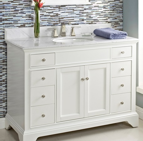 Framingham 48 vanity polar white fairmont designs - 48 inch white bathroom vanity with top ...