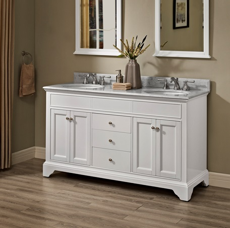 Framingham 60 Quot Double Bowl Vanity Polar White Fairmont