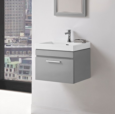 Delightful Metropolitan 21 Wall Mount Vanity And Sink Set   Glossy Light Gray