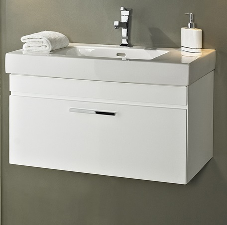 Metropolitan Wall Mount Vanity And Sink SetHigh Gloss White - Wall mounted bathroom sinks and vanities