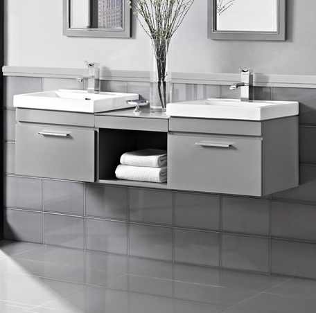 Exceptional Metropolitan 60 Modular Wall Mount Vanity And Sink Set   Glossy Light Gray