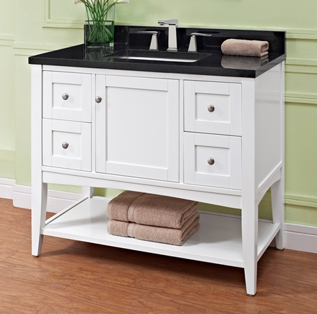 Shaker Americana 42 Quot Open Shelf Vanity Polar White