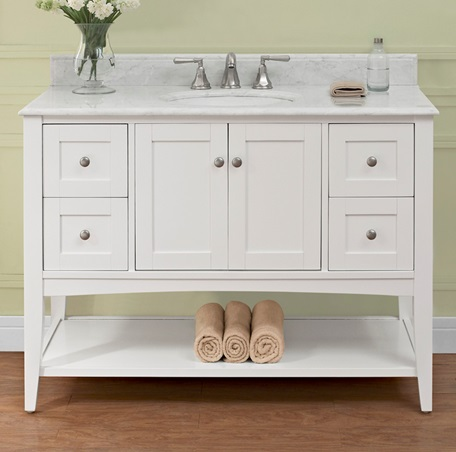 Shaker Americana 48 Quot Open Shelf Vanity Polar White