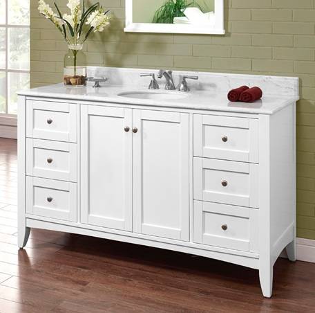 Shaker Americana 60u2033 Single Bowl Vanity U2013 Polar White