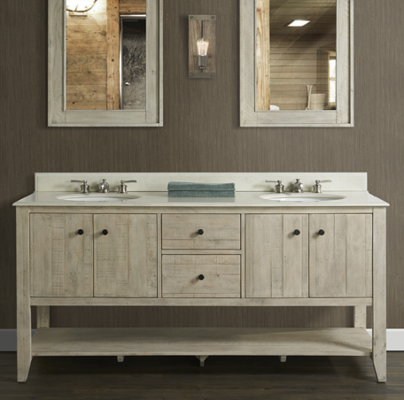 River View 72 Double Bowl Open Shelf Vanity Toasted