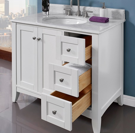 white 36 bathroom vanity shaker americana 36 quot vanity drawer right polar white 21379