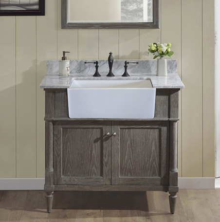 country style bathroom cabinets rustic chic 36 quot farmhouse vanity silvered oak fairmont 14157