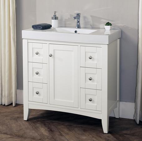 Shaker Americana 36x18 Vanity Polar White Fairmont Designs Fairmont Designs
