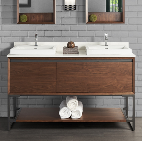 M4 60 Double Bowl Vanity Natural Walnut Fairmont Designs Fairmont Designs