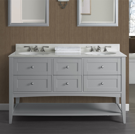 Shaker Americana 60 Double Bowl Open Shelf Vanity Light Gray Fairmont Designs Fairmont Designs